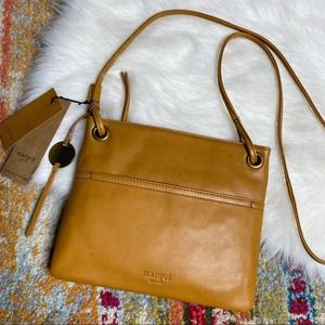 Margot Kari Mini Square Leather Crossbody Cognac
